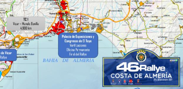 Mapa del recorrido del 46 Rallye Costa de Almería
